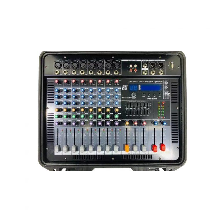 Ezitech PM8700 700w Briefcase Type Smart 8 Channel Powered Mixer