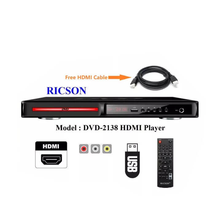 RICSON DVD PLAYER – HDMI (DVD-2138){𝗙𝗿𝗲𝗲 𝗛𝗗𝗠𝗜 𝗖𝗮𝗯𝗹𝗲}
