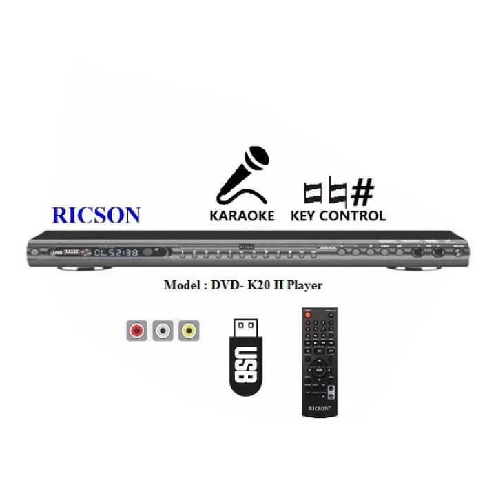 RICSON Karaoke DVD Player DVD-K20 II (With Mic Input & Key Control)
