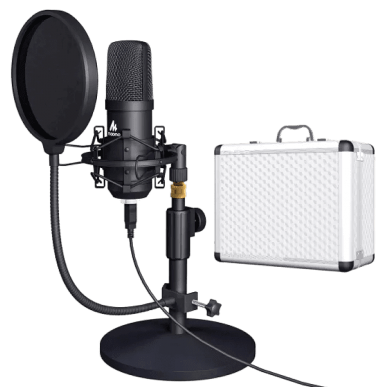 MAONO AU-A04TC USB Microphone with Aluminum Organizer Storage Case, PC Condenser Podcast Streaming Cardioid Mic Plug & Play for Computer, YouTube, Gaming Recording