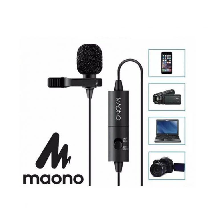 MAONO Lapel Microphone Clip on Lavalier Microphone 6M Handsfree Condenser Microphone Collar Mic for DSLR Camera PC Smartphone AU100