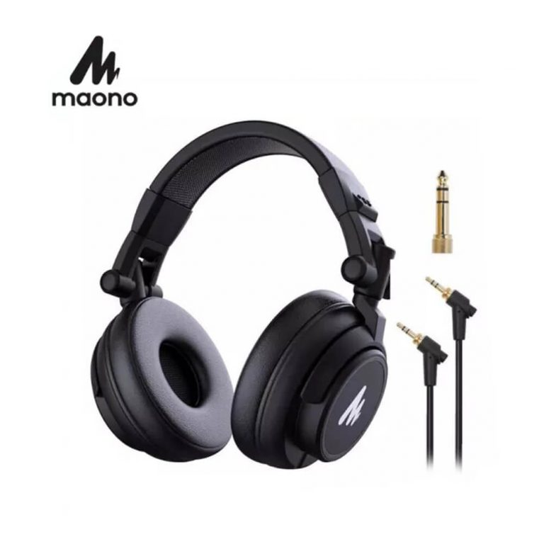 Maono AU-MH601 Professional DJ Studio Monitor Headphones, Over Ear and Detachable Plug & Cable with 50mm Driver for DJ, Studio and Microphone Recording